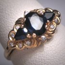 Antique Sapphire Diamond Wedding Ring Band 14K Gold Retro Art Deco 50s