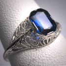 Antique Sapphire Wedding Ring Art Deco Vintage White Gold Filigree 20s