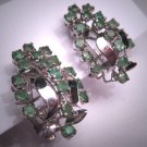 Antique Emerald Earrings Vintage Art Deco Retro c.1950 Emeralds