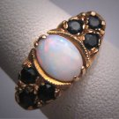 Antique Australian Opal sapphire Ring Wedding Vintage Victorian Deco