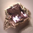 Antique Rose de France Amethyst Ring Victorian Art Deco Wedding c.1920