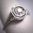 Antique Diamond Wedding Ring Vintage Art Deco Edwardian 18K 1920