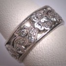 Antique Platinum Diamond Eternity Band Wedding Ring Floral 1920s Deco