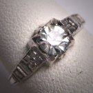 Antique White Sapphire Paste Wedding Ring Floral Vintage Art Deco 1920