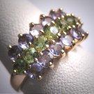Estate Vintage Tanzanite and Green Peridit Ring Wedding 14K Gold