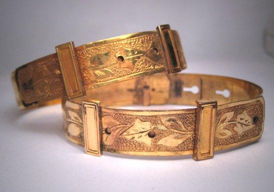 Antique Georgian Victorian Gold Buckle Bracelets Rare Pair Vintage