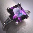 Vintage Amethyst Diamond CZ Wedding Ring Art Deco Style 1950 Estate