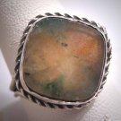 Antique Victorian Moss Agate Ring Silver Vintage Georgian 19th Century