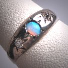 Antique Opal Diamond Ring Wedding Vintage Victorian Mine Cut 1800s