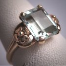 Antique Aquamarine Ring Vintage Art Deco Wedding Gold Floral 1930s