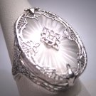 Antique Diamond Ring Vintage Art Deco Champhor Glass Filigree 1920s