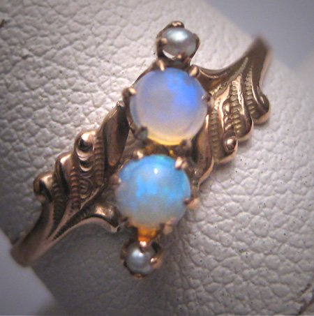 Antique Victorian Australian Opal Wedding Ring Pearl Chased Gold Band