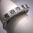 Antique Emerald Wedding Ring Band Vintage Art Deco Palladium 1930s