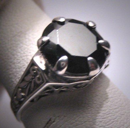 Antique Style Large Black Sapphire Wedding Ring Vintage Deco Filigree