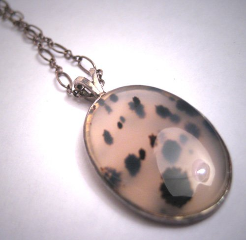 Antique Vintage Victorian Pendant Necklace Spotted Moss Agate Sterling