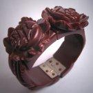 Vintage Carved Bakelite Bracelet Clamper Art Deco Floral Chocolate