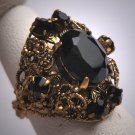 Antique Czech Jet Black Ring Vintage Art Deco Victorian