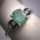 Antique Emerald Diamond Wedding Ring 1950 Vintage Engagement