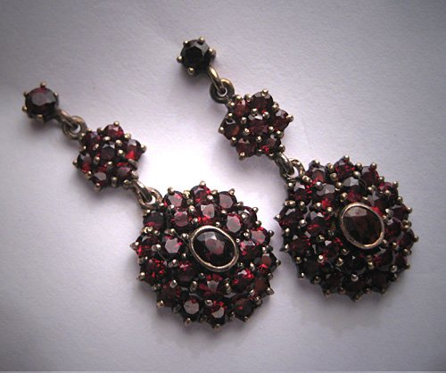 SOLD Antique Victorian Garnet Earrings Bohemian Old Cut Vintage Gold Gilt