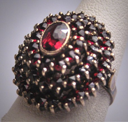 SOLD Antique Victorian Bohemian Garnet Ring Vintage Wedding c.1900
