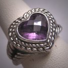 Vintage Amethyst Heart Ring Designer Signed Wedding Engagement Estate