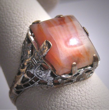 Antique Banded Agate Ring Art Deco Victorian Filigree Vintage 1920