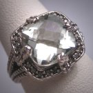 Vintage Green Amethyst Diamond Ring Wedding Art Deco Filigree
