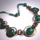 Rare Antique Necklace Art Deco Vintage Czech Jade Green Glass 1920 -30