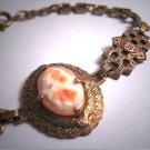 Antique Cameo Bracelet Italian Floral Filigree Vintage 1910-20's