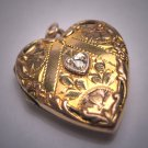 Antique Victorian Gold Diamond Heart Locket Pendant Vintage 1920