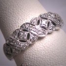 Vintage Diamond Wedding Ring Band Art Deco White Gold Estate