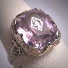 Antique Rose de France Amethyst Diamond Ring Art Deco Wedding Filigree