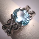 Vintage Aquamarine Diamond Ring Estate Art Deco White Gold Wedding