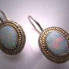 Vintage Australian Opal Garnet Earrings Victorian Georgian Style