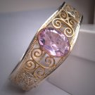 Antique Filigree Bangle Bracelet Art Deco French Paste Rhodium