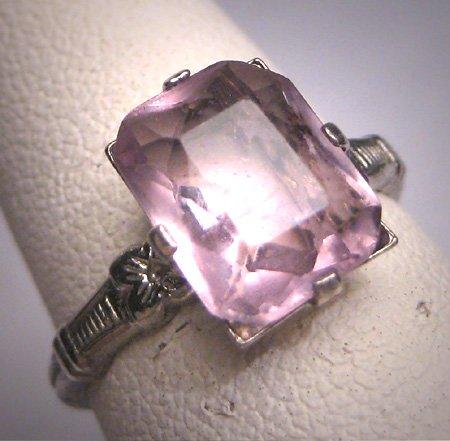 Antique Rose de France Amethyst Ring Vintage Victorian 1920 Art Deco