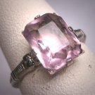 Antique Rose de France Amethyst Ring Vintage Victorian 1920 Art Deco