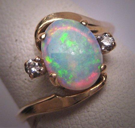 Vintage Australian Opal Diamond Ring Art Deco Antique Wedding 1950