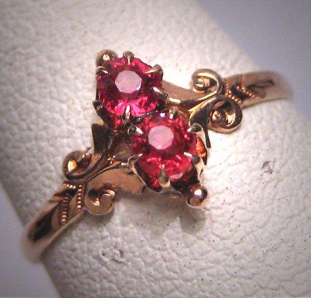 Antique Ruby Wedding Ring Victorian Ornate Gold Vintage c.1900