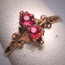 Antique Ruby Wedding Ring Victorian Ornate Gold Vintage c.1900