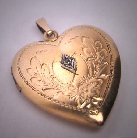 Antique Diamond Gold Locket Heart Victorian Art Deco Necklace Pendant