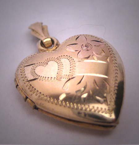 Antique Gold Locket Vintage Art Deco Rose Yellow Pendant 1930