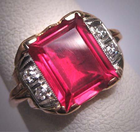 Antique Ruby Diamond Ring Vintage Art Deco Wedding 1920