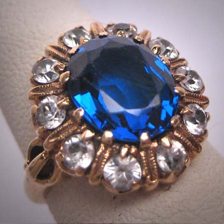 Antique Sapphire Wedding Ring Vintage Art Deco c.1920 14K Gold