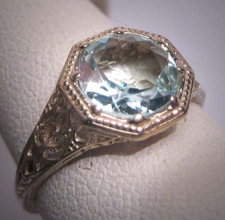 SOLD Antique Aquamarine Ring Vintage Art Deco Wedding White Gold Filigree