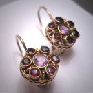 Vintage Garnet Amethyst Earrings Victorian Georgian Revival