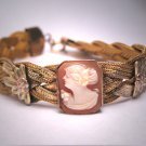 Antique Gold Cameo Bracelet Vintage Victorian Art Deco Yellow Rose 1900