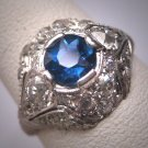 Antique Platinum Sapphire Diamond Wedding Ring Vintage Art Deco c.1920