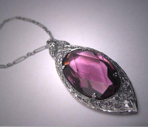 Antique Amethst Filigree Necklace Vintage Art Deco 20s Rhodium