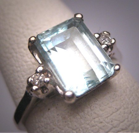 Antique Aquamarine Diamond Wedding Ring Vintage Art Deco Vintag